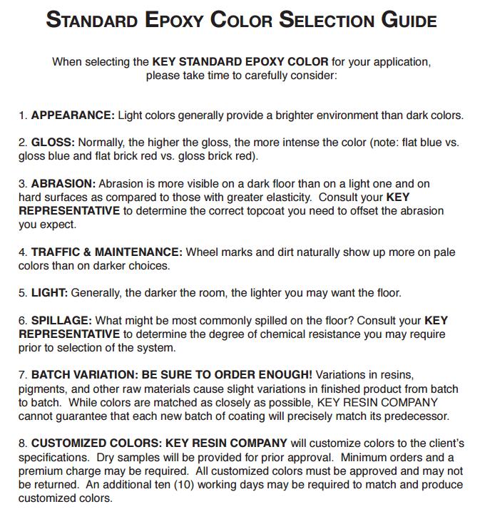 KRC color samples guide